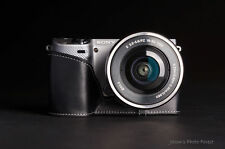 Fait main noir en cuir véritable demi Caméra Sac étui Pour Sony NEX5T NEX5R