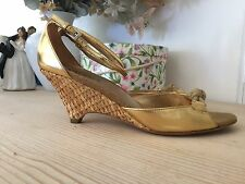 PRADA * Gold Wedges Keil Schuhe Silk Metal Oro * 38