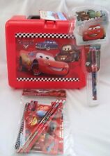 "Disney The Cars McQueen & Friends 9"" Plastic Lunchbox,Cars Stationary,&Cars Pen"