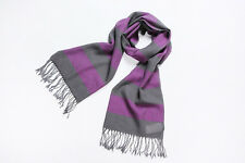 100% Wool Scarf Digitally Printed Purple and Gray Theme Striped Print WO3003