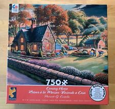 """Coming Home"" 750 Piece Jigsaw Puzzle Country Home Flower Gardens Man Trees"