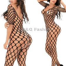 Pole Dancer Long Sleeved Fishnet Nighties Bodysuit Stocking Lingerie Babydoll J