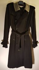Comme des Garcons NOIR Black Wool Trench Coat w/ PVC collar, Women's Medium NWOT