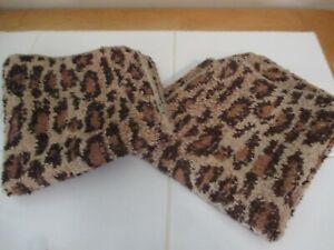 NWT Set of 2 Ralph Lauren Leopard Print Aragon Bath Washcloths ~ Brand New!