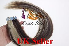 """26"""" 100g 8A Russian Slavic Remy Double Drawn Tape In Human Hair Extensions UK"""
