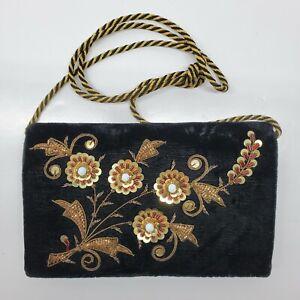 Velvet Gold Beaded Sequin Purse Shoulder Bag Dressy Eve