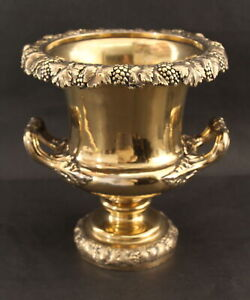 Antique GOLD GILT on Sheffield Silver Plate Champagne Wine Cooler Ice Bucket
