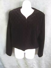 Susan Graver Style Cropped Jacket Size Medium Stretch Velour Quilted Lined
