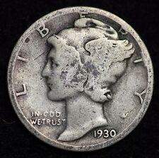 1930-P MERCURY DIME / CIRCULATED GRADE GOOD / VERY GOOD 90% SILVER COIN