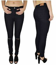 LADIES HIGH WAISTED STRETCHY SKINNY RIPPED JEANS FADED SLIM JEGGINGS DENIM PANTS