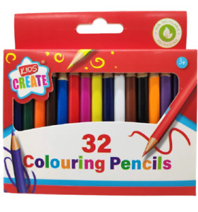 32 PACK OF CHILDRENS KIDS HALF SIZE SMALL COLOURING COLOUR PENCILS - ART CRAFT