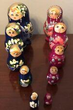 Set of 2 - Nesting Dolls 5 pc. each - Blue & Pink