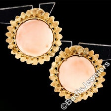 Vintage 14k Yellow Gold Round Angel Skin Coral Textured Flower Button Earrings
