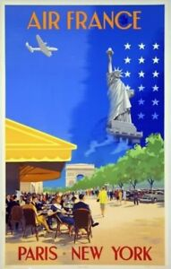 Réédition Affiche AIR FRANCE Paris New York Guerra 1951