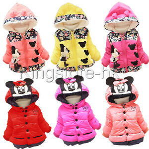 Chilren Girls Kids Minnie Mouse Hoodie Jacket Winter Warm Hooded Coat Outerwear