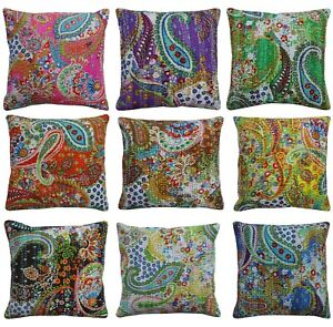 Handmade Paisley Print Cushion Cover Cotton Kantha Home Decor Pillow Case Sofa