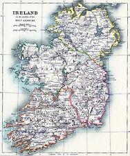"Ireland Map irish Vintage painting Travel Poster Print art for  Glass Frame 36"""