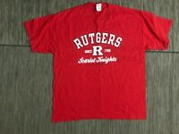 Rutgers University Mens XL Scarlet Knight Tee T Shirt Red Cotton Short Sleeve