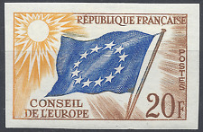TIMBRE DE SERVICE CONSEIL DE L'EUROPE N°18 NON DENTELÉ IMPERF 1958 NEUF * MH