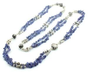Necklace natural blue iolite gemstone chips beaded handmade fine jewelry 72 gram