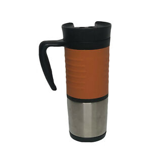 Starbucks Coffee 2004 16 oz. Orange Black Travel Tumbler Mug Carabiner Clip Cup