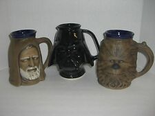 1977 STAR WARS DARTH VADER , OBI WAN KENOBI & CHEWBACCA CERAMIC MUG SET BY RUMPH