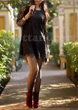 Zara Woman Black Lace Crochet vestito con scollo in Finta Pelle Misura Uk S 8