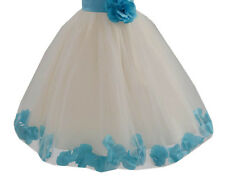 Rose Petals Lace Heart Cutout Ivory Flower Girl Dress Toddler Girl Dresses 185T