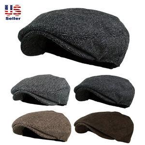 Men's Herringbone Wool Blend Tweed Newsboy Ivy Gatsby Cabbie Driving Golf Hat