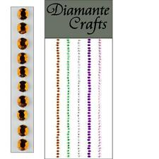 220 x 2mm Mixed Colour Diamante Self Adhesive Strips Rows Rhinestone Craft IP