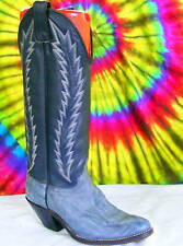 sz 6 M vtg 80s blue & gray leather Abilene cowboy boots