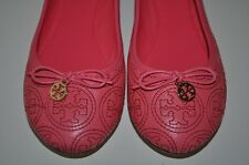 NIB Tory Burch Sz 7  CHELSEA Stitched Gold Logo PINK Leather Ballet Flat Shoes