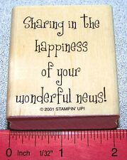 Sharing happiness Rubber Stamp wonderful news Single by Stampin Up Cheery Chat