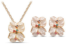 Bridal Cream Beige and Colourful Jewellery Set Flowers Earrings & Necklace S547