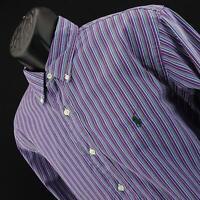 Mens Polo Ralph Lauren Custom Fit Striped Oxford Golf Dress Shirt Size Large L