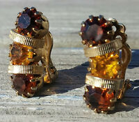 Vintage Clip On Earrings Brown And Amber Rhinestones