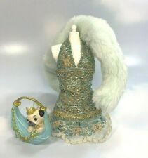 My Scene Barbie Clothing: Fab Faces green gold Nolee Party Dress Faux Fur Stole
