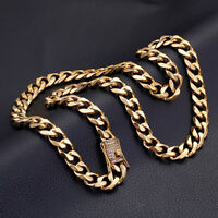 "10/13/15mm Stainless Steel Heavy Gold Curb Cuban Chain Men's Necklace 8.5""-40"""