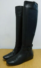 Christian Louboutin black leather flat knee high boots 38 5 VGC strap ankle