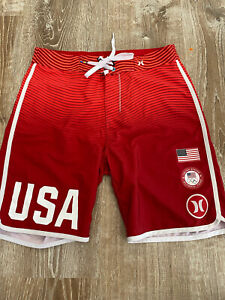 HURLEY Phantom USA Olympic Team E Pluribus Unum Boardshorts 28 Red Fade Striped