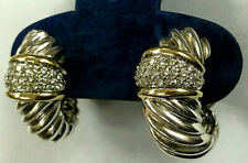 David Yurman Silver & 18K Gold Diamond Thoroughbred Cable Shrimp Hoop Earrings