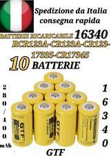 10x BATTERIE PILE RICARICABILE  16340 CR123A 17335 LITIO GTL 3.7V 2800mAh