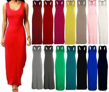 Women's Ladies Racer Muscle Back Jersey Long Summer Vest Maxi Dress Plus Size