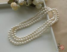 """7-8mm 48"""" AAA Akoya White Cultured Pearls Strand Necklace"""