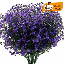 Artificial Shrubs Bushes 4 Pack Fake Flowers UV Resistant Plants Bell Leaves
