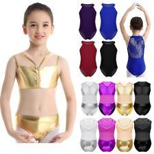 Kids Girls Ballet Leotards Gymnastics Yoga Jumpsuits Metallic Lace Back Unitards