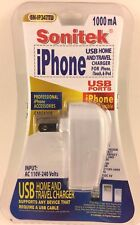 HOME & TRAVEL USB CHARGER FOR iPhone , iTouch , iPod 110 - 240V / BY SONITEK