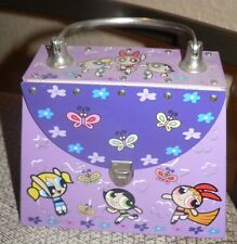 PURPLE RARE POWERPUFF GIRLS LUNCH BOX COLLECTORS TIN TOTE HANDLE GLAM CONTAINER