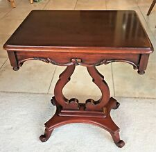 Mid Century Harp Base Mahogany End Side Accent Table Serpentine Apron 2 Availabl