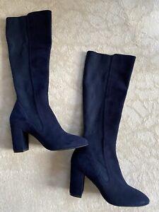 "Stuart Weitzman NEW Blue ""Livia 80"" Boots Size 7.5B"
